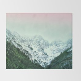 Snowy Winter Mountain Landscape with Alpenglow Throw Blanket