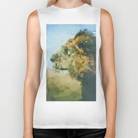 lion Biker Tanks featuring Lion by Esco