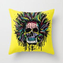 Magical Voodoo Skull Warrior Throw Pillow