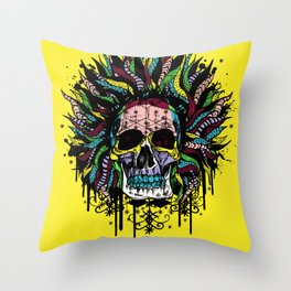 Magical Voodoo Skull Warrior Throw Pillow