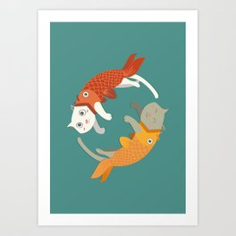 Fish A Cat Fish Cat Art Print