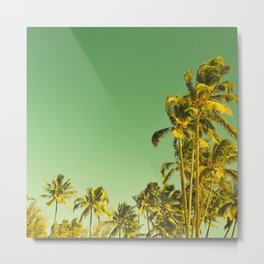 palm love in tropical green gold jewel tones Metal Print