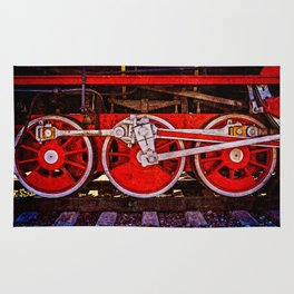 Vintage Steam Train Wheels Rug