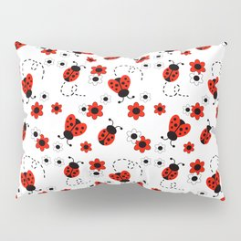 Red Ladybug Floral Pattern Pillow Sham