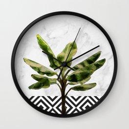 Banana Plant on White Marble and Checker Wall Wall Clock