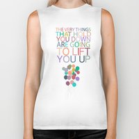 dumbo Biker Tanks featuring lift you up.. dumbo inspirational quote by studiomarshallarts