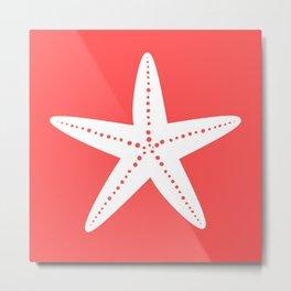 Starfish (White & Salmon) Metal Print