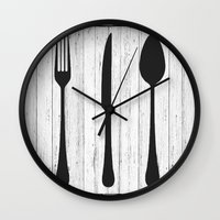 eat Wall Clocks featuring Eat by Vintage Fox