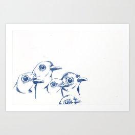 Blue Birds Watching Me Art Print