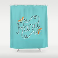 lettering Shower Curtains featuring Rand Lettering by janna barrett