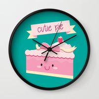 pie Wall Clocks featuring Cute pie by Alice Wieckowska
