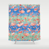 flamingos Shower Curtains featuring Flamingos  by Ninola