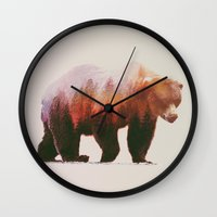 bear Wall Clocks featuring Brown Bear by Andreas Lie