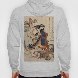 The Strong Oi Pouring Sake by Katsushika Hokusai Hoody
