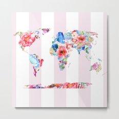 Floral World - Pink Stripe Metal Print
