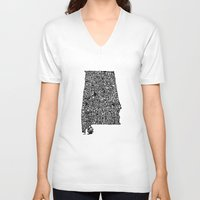 alabama V-neck T-shirts featuring Typographic Alabama by CAPow!