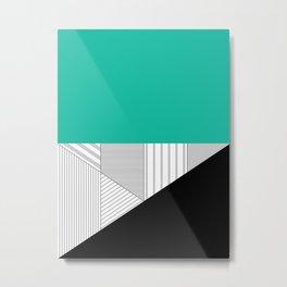 Minimal Triangles Teal Metal Print