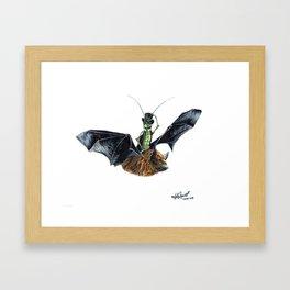 """ Rider in the Night "" happy cricket rides his pet bat Framed Art Print"
