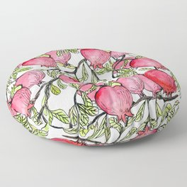 Pomegranate branches watercolor  Floor Pillow
