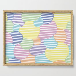 Circled Pastel Lines Serving Tray