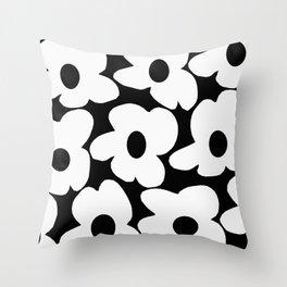 White Retro Flowers Black Background #decor #society6 #buyart Throw Pillow