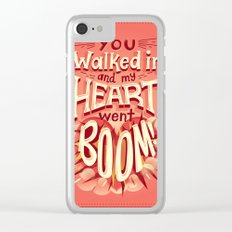 Heart went boom Clear iPhone Case