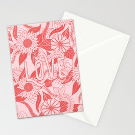 Love Coral Blush Pink Floral Typography Pattern Stationery Cards
