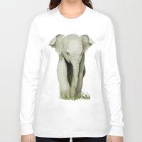 baby elephant Long Sleeve T-shirts featuring Baby Elephant by Tanya Petruk