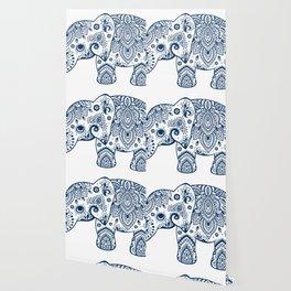 Blue Floral Paisley Cute Elephant Illustration Wallpaper