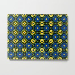 Blue and yellow floral vines Metal Print