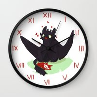 toothless Wall Clocks featuring Toothless by Flora