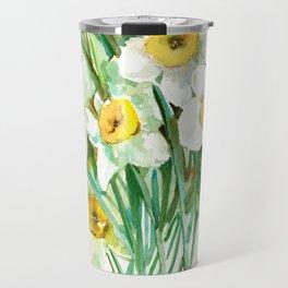 White Daffodils, spring flowers yellow green spring floral design Travel Mug