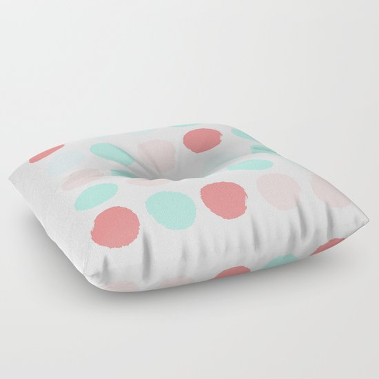 Painted dot abstract trendy colors gender neutral seaside coral tropical minimal Floor Pillow by ...