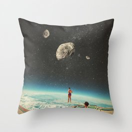 Summer with a Chance of Asteroids Throw Pillow