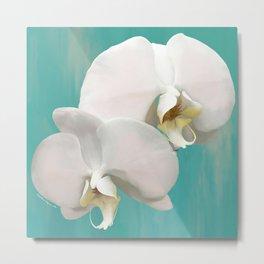 WHITE ORCHIDS - AQUA Metal Print