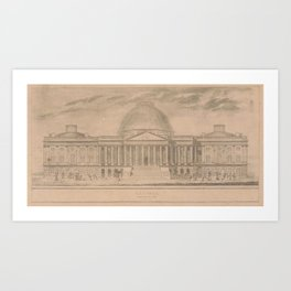 Vintage United States Capitol Building Illustration Art Print