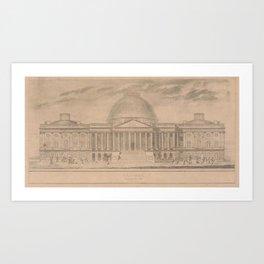 Vintage United States Capitol Building Illustration Art Print