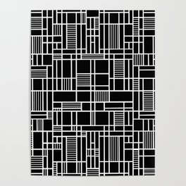 Map Lines Black Poster
