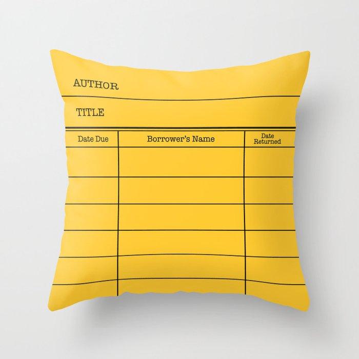 LiBRARY BOOK CARD (dandelion) Throw Pillow