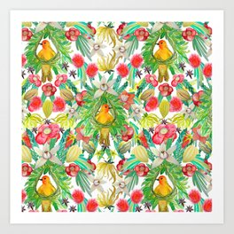 Exotic watercolor floral with tropical fruits and flowers Art Print