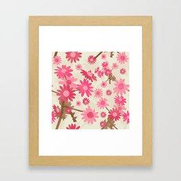 Pink Camomiles Pattern Framed Art Print