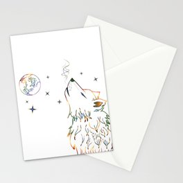 Wolf howling on moon sketch Stationery Cards