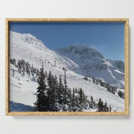 Mountains color palette of white-black-blue Serving Tray
