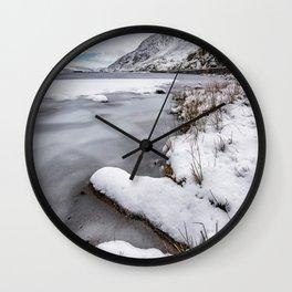 Snowfall at Ogwen Lake Snowdonia Wall Clock