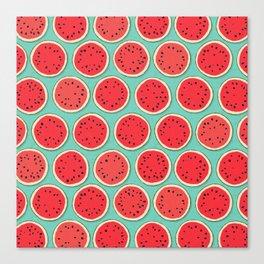 watermelon polka mint Canvas Print