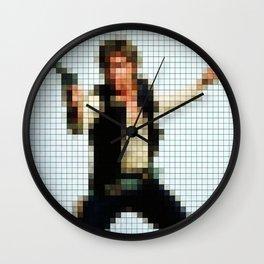Han with Gun Pixels Texture Wall Clock