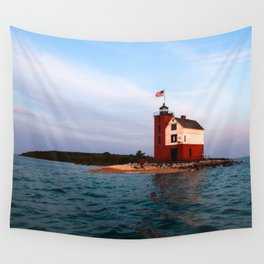 Round Island Lighthouse Wall Tapestry