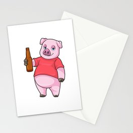 Pig with Bottle of Beer Stationery Cards