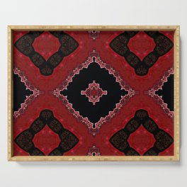 Red and Black Diamond Love Pattern Serving Tray