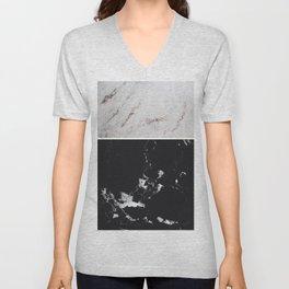 White Glitter Marble & Black Marble #1 #decor #art #society6 Unisex V-Neck